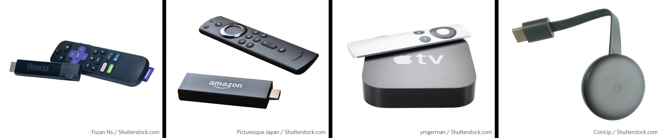 Picture of various devices used for cutting the cord including a roku streaming player, amazon fire stick, apple TV player, and Google Chromecast