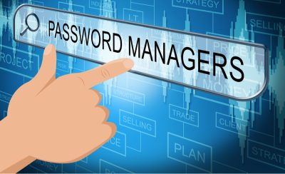 Graphic of a Hand touching a Password Managers emblem, password management software