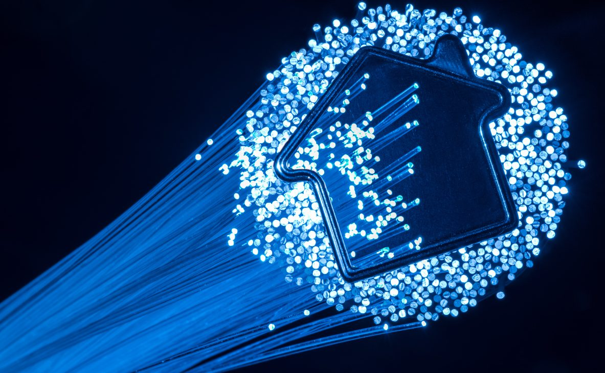 Picture of a lighed group of fiber optics cables seen seen partly in profile, partly head on forming outline of a simple home shape, GVEC Fiber to the Home