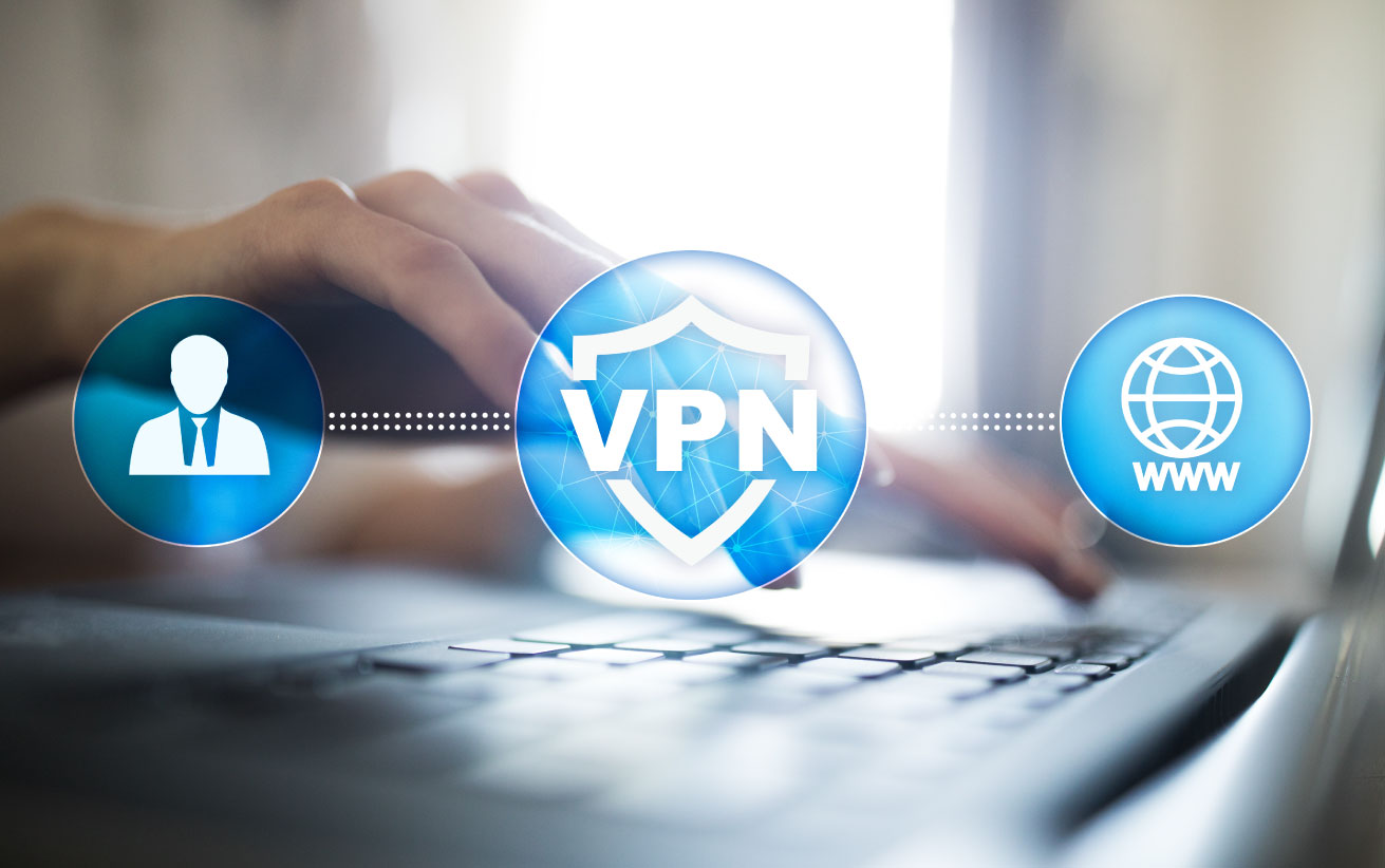 """""""VPN"""" graphic showing hands and fingertips engaging on a laptop keyboard, virtual private network"""